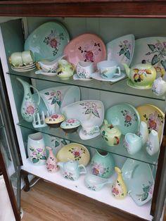 my pretty Carlton Ware collection. I love these patterns. Carlton Ware, China Display, Tea Tins, Tea Caddy, Tea Art, Vintage Pottery, Vintage China, Bone China, Alice In Wonderland