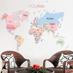 Cheap wallpaper decor, Buy Quality home decor directly from China vinyl wall stickers Suppliers: Colored letters world map DIY Vinyl Wall Stickers Kids love Home Decor office Art Decals creative Wallpaper decoration Wall Stickers World Map, Kids Room Wall Stickers, Cheap Wall Stickers, Removable Wall Stickers, World Map Wall, Wall Maps, Letter Wall Stickers, Office Wall Art, Home Wall Art