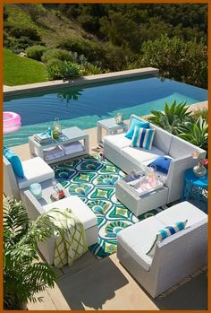 Outdoor Living Pool and Patio – Patio Ideas Living Pool, Outdoor Living Rooms, Outside Living, Outdoor Spaces, Outdoor Decor, Outdoor Sofa, Living Spaces, Art Deco, Beautiful Pools