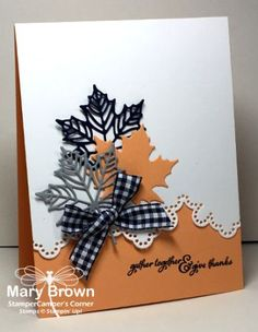 Non-Traditional Fall Colors: black, white, gray and dusty peach . die cut maple leaves and fancy edge border .Stampin' Up! Homemade Greeting Cards, Making Greeting Cards, Homemade Cards, Fall Cards, Holiday Cards, Christmas Cards, Handmade Greetings, Greeting Cards Handmade, Stampin Up