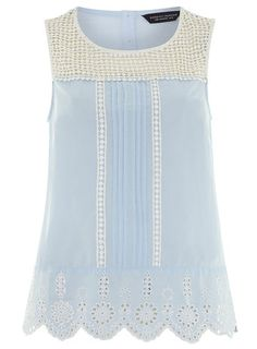 Pale Blue Crochet Detail Shell Top