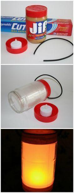 14.) Peanut Butter Jar Lantern....  See more at the image link
