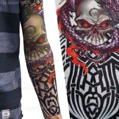 8a06c9413 Dragon Skull Tribal Slip on Stocking Fake Arm Temporary Tattoo Sleeve  Halloween