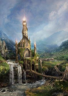 Dark Art - Fantasy Castle with Light Fantasy City, Fantasy Castle, World Of Fantasy, Fantasy Places, Sci Fi Fantasy, Elves Fantasy, Fairytale Castle, Drawn Art, Fantasy Setting