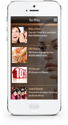 You can easily offer dicsounts, vouchers, benefits to your customers on the go with our popular for both beauty parlors and spa. Mobile Offers, Student Discounts, Mobile App Design, App Control, Control Panel, Salons, Spa, Popular, Mobiles