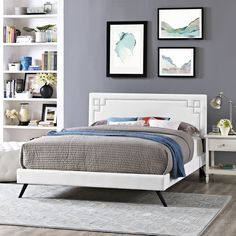Modway Josie White Vinyl Platform Bed with Round Splayed Legs (Twin)