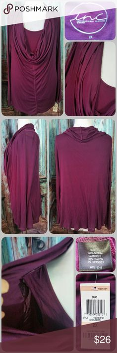 INC WOMAN top Stretchy top with deep draped neck and long sleeves. Attached matching tank top underneath. Color has more of a purple tone than appears in pictures INC International Concepts Tops