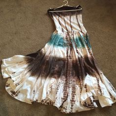 My Hippy Dress Bandeau knitted top with Cotton multi layers skirt. The tie dye is complete, darker on top with water green in center. Very full and fun! Saige Dresses Maxi