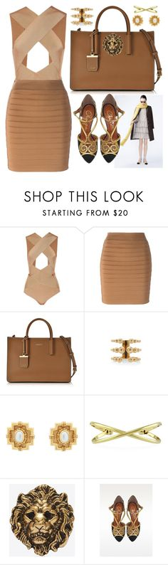 """Gold Lion"" by cherieaustin on Polyvore featuring J.Crew, Balmain, DKNY, Carla Amorim, Julie Vos, BERRICLE, Yves Saint Laurent and Charlotte Olympia"