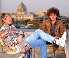 Roger and John in Tokyo, March 1984 photo by Koh Hasebe source:Queen: Through The Years - A Photographic History
