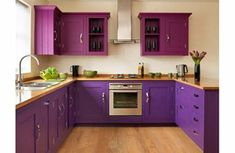 Purple and Plum kitchen with laminated wood countertops