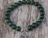 Malachite Mala Bracelet with silver OM charm- Mediation Inspired Yoga Beads