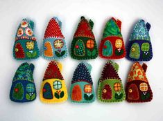 Felt Christmas decorations Colourful houses by PuffinPatchwork