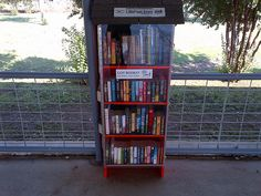 OKLAHOMA, Lexington  #3695...a bookshelf transformed into a (not so) Little Free Library? Cool!