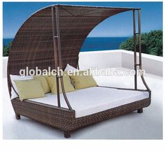 Outdoor sun bed, synthetic lujo canopy sun bed, wicke tejer sol bedvv