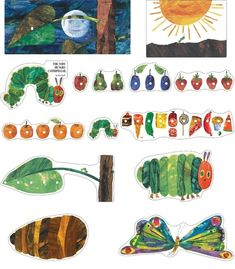 "This vibrant, beloved bulletin board set includes: 13 storytelling pieces (largest approx. x ""The Very Hungry Caterpillar™"" header A resource guide ™ © 2009 Eric Carle LLC. Licensed by Chorion Rights Limited. Very Hungry Caterpillar Printables, Hungry Caterpillar Nursery, Hungry Caterpillar Activities, Eric Carle, Caterpillar Bulletin Board, Bulletins, Classroom Themes, Craft Activities, Bulletin Boards"