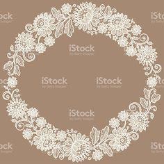 ホワイトのレース。リースます。花柄。 ロイヤリティフリーのイラスト素材