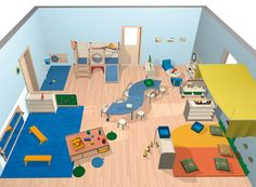 Example of a kindergarten plan - HABA - collective space with play structure, # . - Example of a kindergarten plan – HABA – collective space with play structure, - Preschool Classroom Layout, Preschool Decor, Montessori Classroom, Classroom Design, Toddler Daycare Rooms, Home Daycare, Design Maternelle, Diy Zelt, Micro Creche
