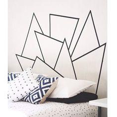 63 Ideas For Diy Headboard Black Washi Tape Tape Wall Art, Washi Tape Wall, Diy Washi Tape Headboard, Masking Tape Art, Washi Tapes, Painters Tape, Duct Tape, Diy Home Decor, Room Decor