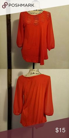 Lauren Conrad Red-Orange Top Gorgeous red-orange top by Lauren Conrad. Has sheer sleeves and a beautiful scalloped lacey design along the neckline. Fits more comfortably as a 3/4 sleeve top, but could be full length depending on how long your arms are. The 3/4 sleeve look is perfect for spring though, and this color is great!  Happy to provide measurements upon request. LC Lauren Conrad Tops Blouses