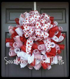 Valentine Deco Mesh Wreath Valentine's Day by SouthernThrills Valentine Day Wreaths, Valentines Day Decorations, Valentine Day Crafts, Holiday Wreaths, Holiday Crafts, Wreath Crafts, Diy Wreath, Wreath Ideas, Deco Mesh Wreaths