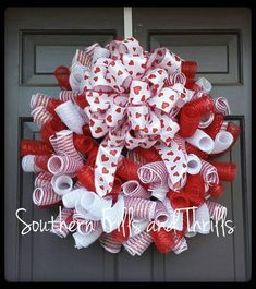 Check out this item in my Etsy shop https://www.etsy.com/listing/173407254/valentine-deco-mesh-wreath-valentines
