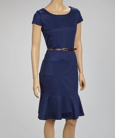 Take a look at this Navy Belted Scoop Neck Dress by Joy Mark on #zulily today! $18.49 sale price! Regular price is $78