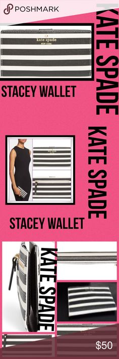 """'Kate Spade Fairmount Square Stacey' wallet. NWOT Kayevjwwe Fairmont Square Stacy Wallet black/white NWOT kate spade was founded in 1993 with six simple handbags that shook up what had been a quiet accessories  kate spade was founded in 1993 with six simple handbags that shook up what had been a quiet accessories category. Fifteen years and a handbag revolution later, wit and playful sophistication are hallmarks of everything """"kate  Product Dimensions: 0.8 x 6.8 x 3.5 inches kate spade Bags…"""