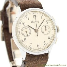 1950's Vintage Breitling 2-Register Chronograph Ref. 769 Chrome & Stainless Steel Watch