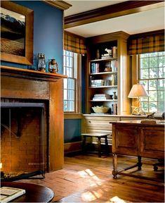 tartan window treatments....plus the bookcases