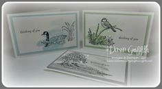 Dawn's CAS notecards featuring Moon Lake & Work of Art. With a video. All supplies from Stampin' Up!