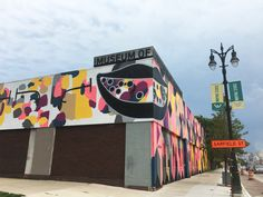 The exterior of the Museum of Contemporary Art Detroit, featuring an installation by Andrew Kuo. COURTESY MOCAD