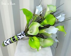 Wedding Bouquet real touch Calla lily lime by BrideinBloomWeddings, I would want pink instead of white