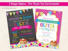 Pancakes & Pajamas Birthday Party Invitations - Pancake PJ Invitations - Girls Birthday Invitations -Chevron Polka Dots Banner - Printable on Etsy, $15.00