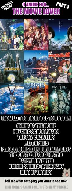 9 Anime For The Movie Lover (Non Ghibli Edition) PART 4