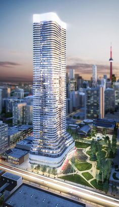 Wellesley On The Park looking really cool! / #architecture #Toronto #rendering #CNTower #Condo #design