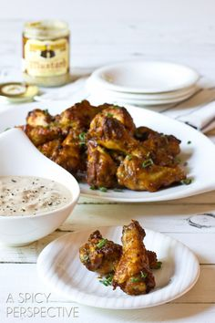 Sweet and Spicy Chicken Wing with Apple Onion Dip | ASpicyPerspective.com #chicken #recipe #party #appetizer (www.ChefBrandy.com)