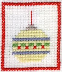 Christmas ornament cross stitch card, would be cool to make some Christmas tree ornaments with different baubles on.