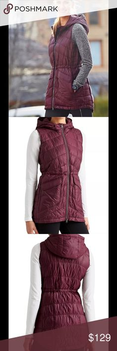Athleta Uptown Down Vest Jacket Chianti Maroon NWT $178 Athleta Uptown Down Vest Jacket Chianti Maroon Sz L  The full CYA vest modeled after our best-selling Uptown Down Jacket gives you seat coverage for sitting down in cold outdoor places, all with a super-cute design. INSPIRED FOR: adventure To Fro, gym To Fro One-handed cinch & release adjustable hood Two-way front zip for ventilation and mobility Cinched-in waist is utterly flattering Two front dual-entry pockets (side zip and snap…
