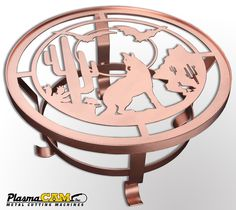 Southwestern coyote metal table made with a cnc plasma cutting plasmacam table.