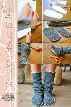 Free slipper bootie patterns to loom knit crochet and use recycled sweaters DiaryofaCreativeFanatic Knitting Loom Socks, Loom Knitting Patterns, Crochet Slippers, Knitting Projects, Baby Knitting, Knit Crochet, Crochet Patterns, Finger Knitting, Old Sweater Crafts