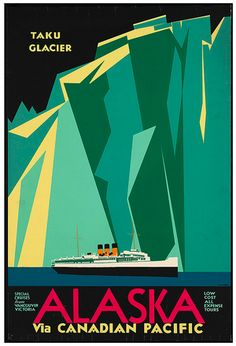 """overs of graphic design and traveling will want to check out the Boston Public Library's Print Department Flickr image set showcasing vintage travel posters from the 1920s-1940s. The bold colors, geometric shapes, and streamlined sensibilities truly make these graphic icons from the """"Golden Age of Travel."""" Check them out here."""