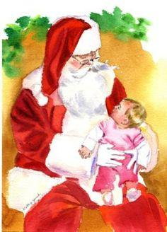 Santa and Child Christmas Watercolor portrait