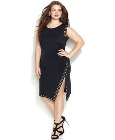 MICHAEL Michael Kors Plus Size Sleeveless Stud-Trim Sheath Dress