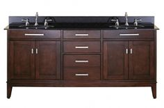 """Avanity Madison MADISON-VS72-LE-A 72"""" Double Vanity with Black Granite Top, Dual Undermount Sink, 3 Soft Close Drawers, 4 Soft Close Doors, and Adjustable Leg Levelers in Light Espresso Finish"""