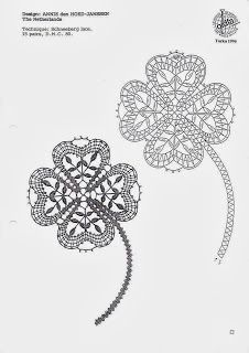 four leaf clover, Irish crochet lace motif Irish Crochet Patterns, Bobbin Lace Patterns, Crochet Leaves, Crochet Flowers, Diy Pencil, Freeform Crochet, Crochet Motif, Bruges Lace, Lace Decor