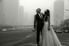 This newlywed couple in China decided to take their wedding photos in a dark and striking direction to protest their country's out-of-control pollution.