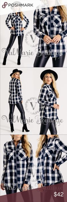 Zip up navy plaid shirt STUNNING one of a kind navy plaid zip up long sleeve shirt. Feature button accents on shoulders and wrists. You can fold up sleeves with a button closure too. The zipper is silver toned and looks adorable paired with a tank top and leggings. Perfect for Fall! Fits fitted. Size up for a more relaxed fit. S(0-2) M(4-6) L(8-10) XL(12) Made of 49% polyester, 34% cotton, 17% viscose (rayon) - a MUST have. Very high quality. ValMarie Tops