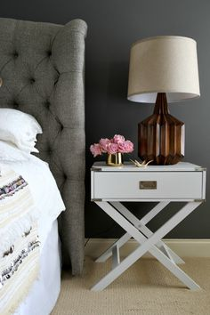 layer types of gray A Moody Luxe Bedroom Makeover Farmhouse Bedroom Decor, Home Bedroom, Bedrooms, Bedroom Ideas, Master Bedroom, Farmhouse Headboards, Charcoal Bedroom, Dark Gray Bedroom, Kendall Charcoal