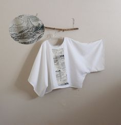 over size white linen top with vintage by annyschooecoclothing